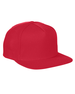 Adult 5-Panel Structured Flat Visor Classic Snapback Cap-