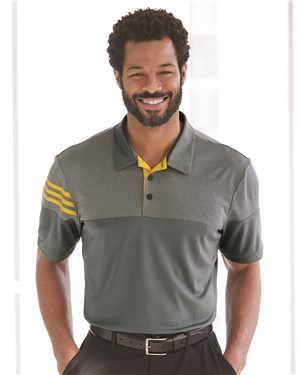 Adidas - Heather 3-Stripes Block Sport Shirt-adidas Golf