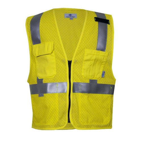 NSA FR Class 2 Hi Vis Yellow Anti Static Mesh Road Vest-National Safety Apparel
