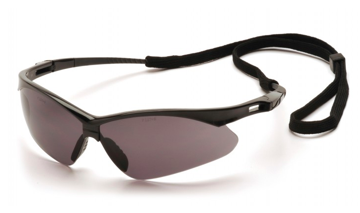 Gray Anti-Fog Lens with Black Frame and Cord-PYRAMEX