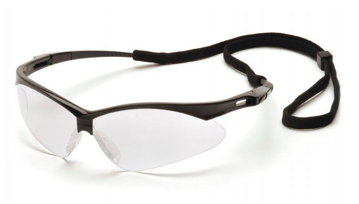 Clear Anti-Fog Lens with Black Frame and Cord-