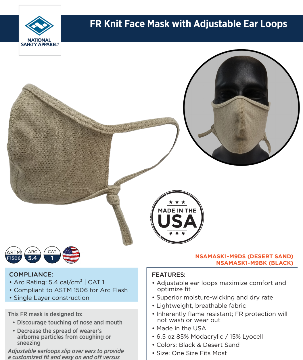 NSA Flame Resistant Knit Face Mask w/ Adjustable Ear Loops-