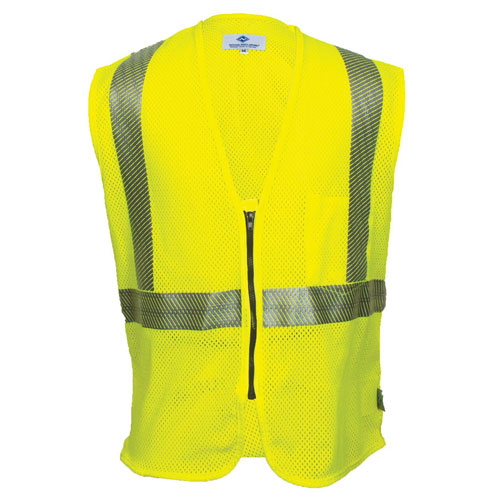 HI-VIS FLAME RESISTANT MESH SAFETY VEST, CLASS 2, ZIPPER CLOSURE-