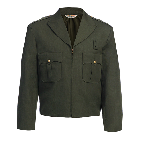 Ike Jacket - Zippered Front, Forest Green, 55 Poly 45 Wool, Serge weave, United Uniform -United Uniform