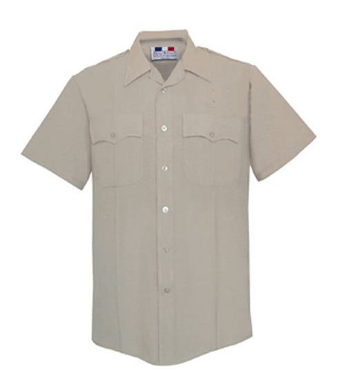 Short Sleeve Deluxe Tropical Shirt Mens Silver Tan Optional CA State Parks Patches-Flying Cross
