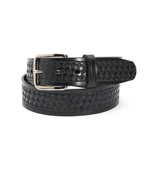 Basketweave Embossed Belt - Black, 1.5 inch-Other Brands