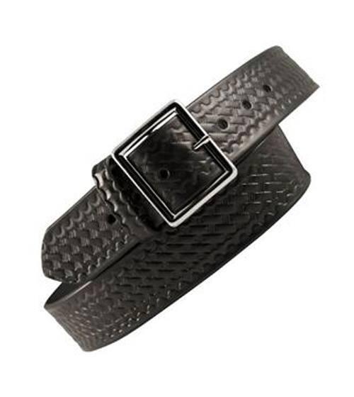 Uniform Belt, Brass or Nickel Buckle, Black Basketweave-Other Brands