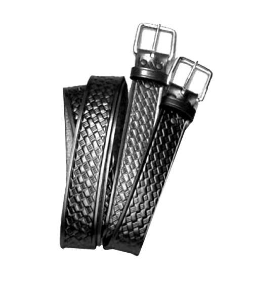 "1.5"" black belt w/ nickel finish 'four square' buckle - basketweave or plain finish -Other Brands"