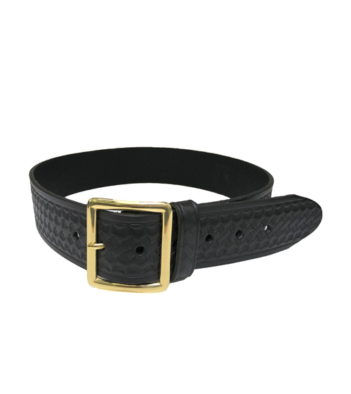 Uniform Belt, Brass or Nickel Buckle, Black Basketweave-Other Brands
