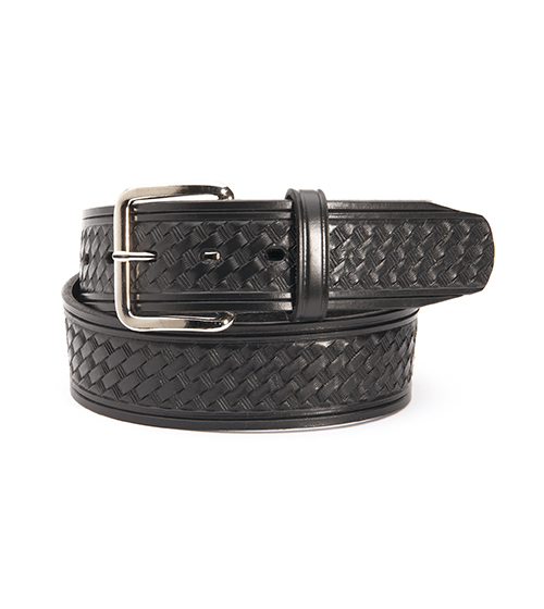 BASKETWEAVE BELT 1.75 inch BLACK WITH A 'FOUR SQUARE' BUCKLE