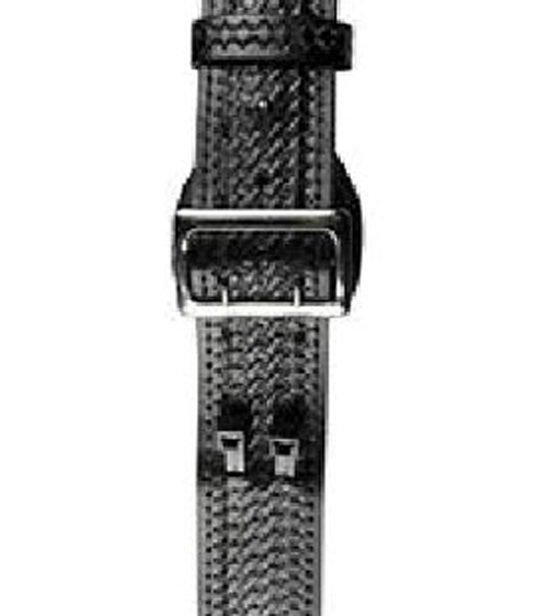 Sam Browne LEATHER Belt, 2 1/4 inch Fully  Lined, BLACK, Basketweave with Solid Brass Buckle-Boston Leather