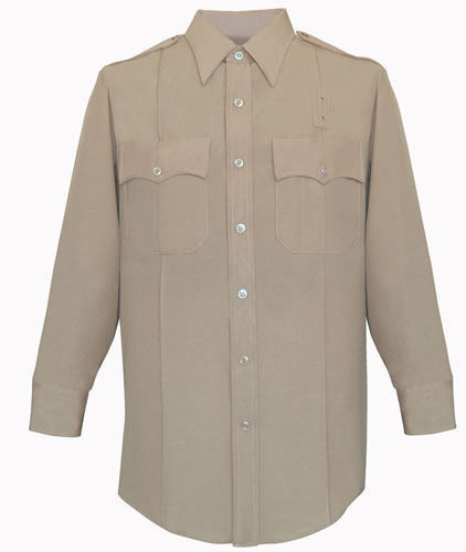 Long Sleeve Deluxe Tropical Shirt Mens Silver Tan Optional CA State Parks Patches-Flying Cross