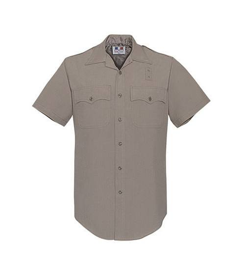 CHP Short Sleeve Shirt Mens Polyester/Wool Silver Tan -Flying Cross