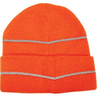 High Viz Knitted Cap with Reflective Stripe-