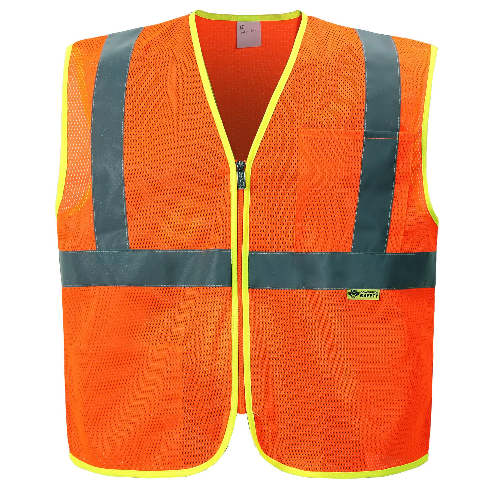 Mesh Economy Zipper Safety Vest-