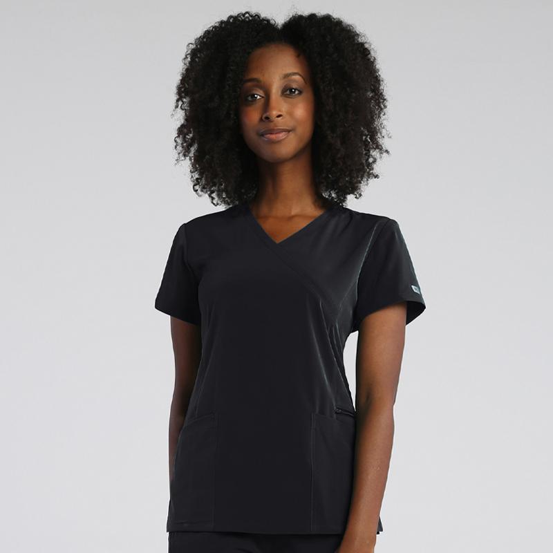 Ladies Mock-Wrap Top With Zipper Pocket-IRG Elevate