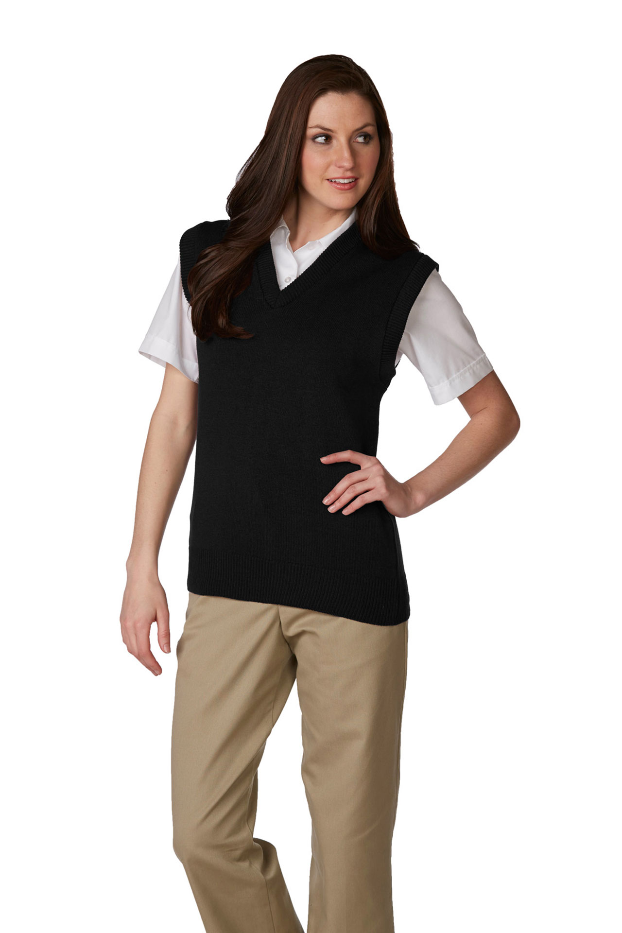 Unisex V-Neck Pullover Jersey Knit Sweater Vest-A Plus