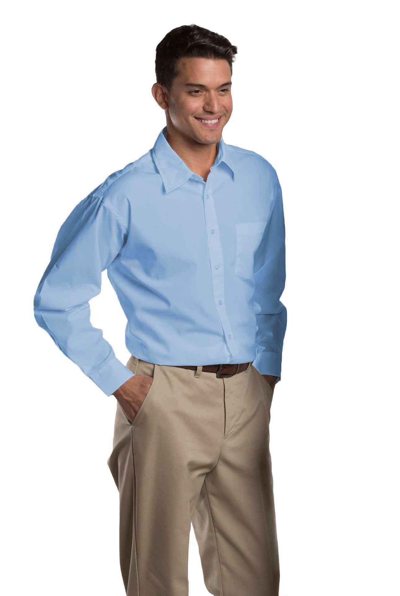 Mens Long-Sleeve Broadcloth Shirt-A Plus