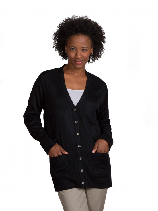 Womens Fine-Gauge Tunic-Length V-Neck Cardigan-A Plus