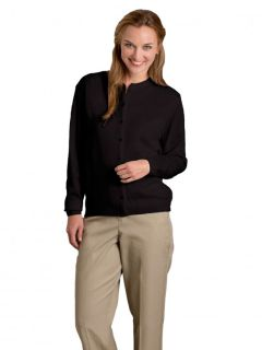 Womens Fine-Gauge Crewneck Cardigan, Button Front