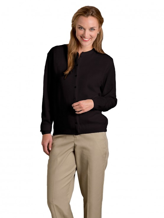 Womens Fine-Gauge Crewneck Cardigan, Button Front-A Plus