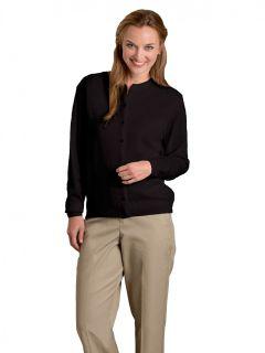 Women's Fine-Gauge Crewneck Cardigan, Button Front