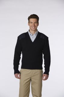 Unisex 2x2 Heavy Rib V-Neck Commando Sweater, Wool Blend