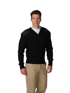 Unisex 2x2 Heavy Rib V-Neck Commando Sweater, Wool Blend Sweater
