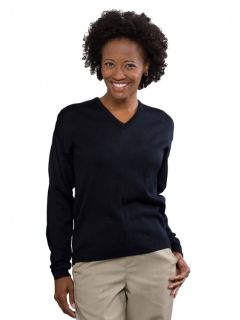 Womens Fine-Gauge V-Neck Pullover Sweater