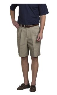 Men's Double-Pleated Relaxed Fit Twill Shorts