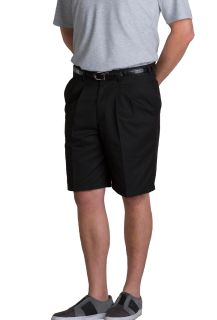 Mens Double-Pleated Classic Fit Twill Shorts-A Plus