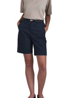 Womens Plain Front Classic Fit Twill Shorts