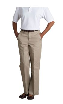 Womens Plain Front Classic Fit Twill Shorts-A Plus