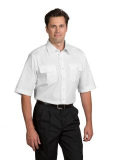 Mens Poplin Short-Sleeve Aviator Shirt-A Plus