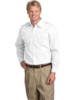 Mens Poplin Long-Sleeve Aviator Shirt-A Plus