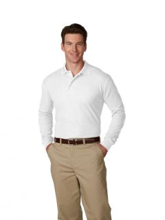 Mens/Unisex Pique Polo Shirt Long Sleeves, Ribbed Cuffs-A Plus