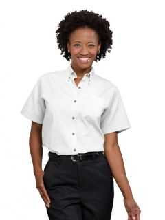 Womens Short-Sleeve Poplin Blouse-A Plus