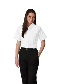 Womens Short-Sleeve Oxford Blouse-