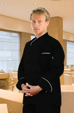 Egyptian Cotton Chef Coat-Black