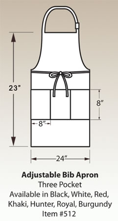 Adjustable Bib Apron, Three Pocket