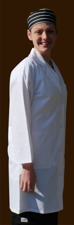 "Men's Kitchen Coat, 33"" length, White"