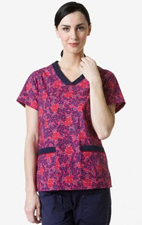 Contrast V-Neck 2-Pocket Print Top