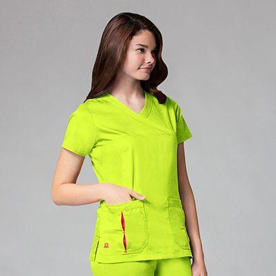 Pleated Pocket Mock Wrap Top-