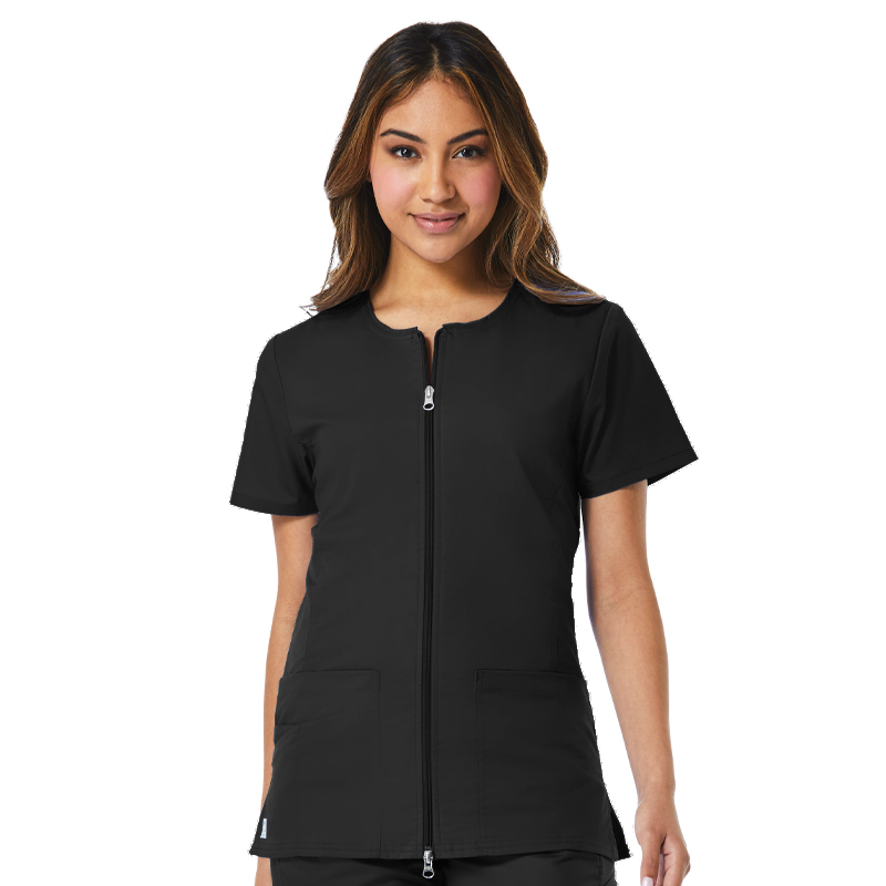 Back Mesh Panel Short Sleeve Zip Front-Maevn