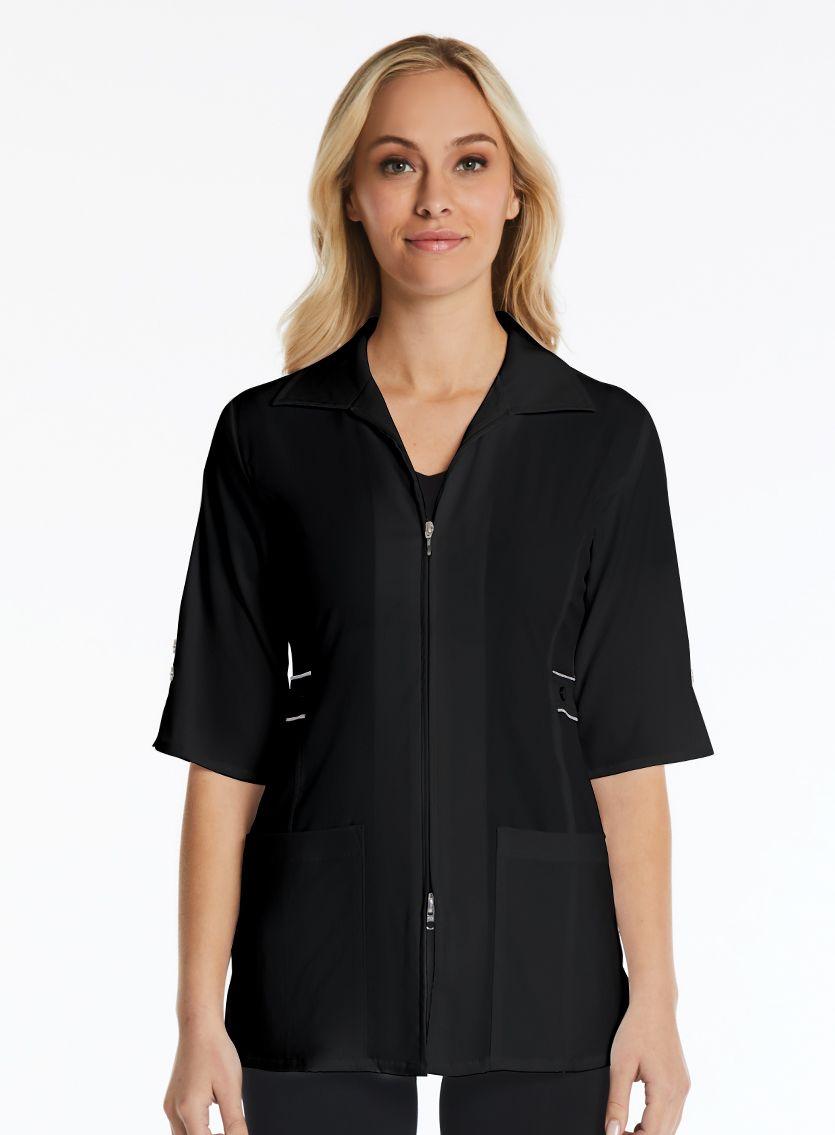Half Sleeve Contrast Trim Jacket-Maevn