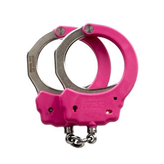 Steel Identifier Chain Handcuffs (Pink)-ASP