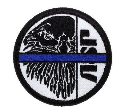 59127 Black ASP Eagle on White, Blue Line Patches (Iron-On)-