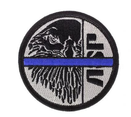 59128 Black ASP Eagle on Silver, Blue Line Patches (Iron-On)-