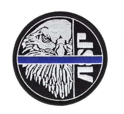 59135 White ASP Eagle on Black, Blue Line Patches (Hook & Loop)-