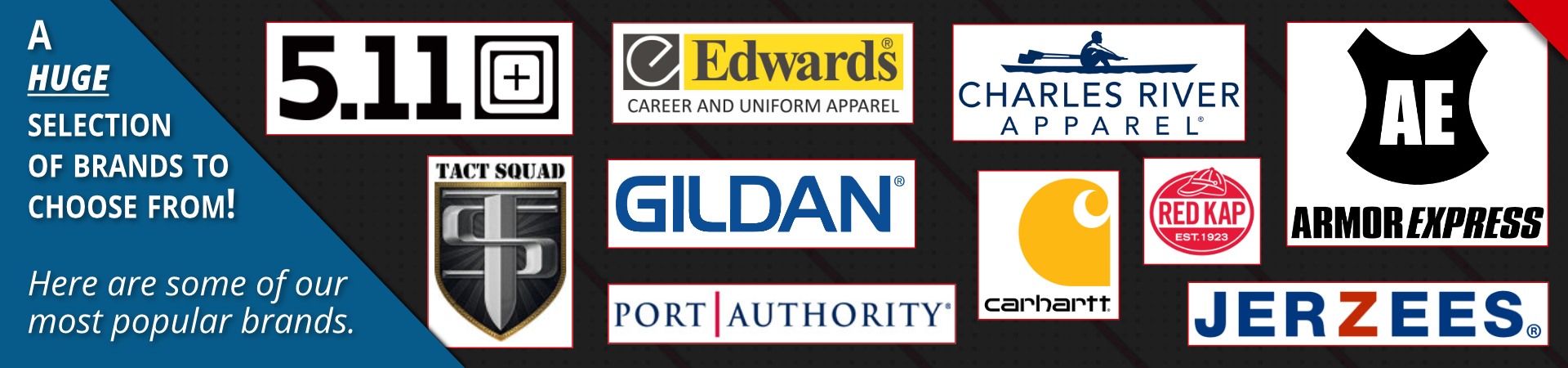 a slide of the top brands carried by garment specialties